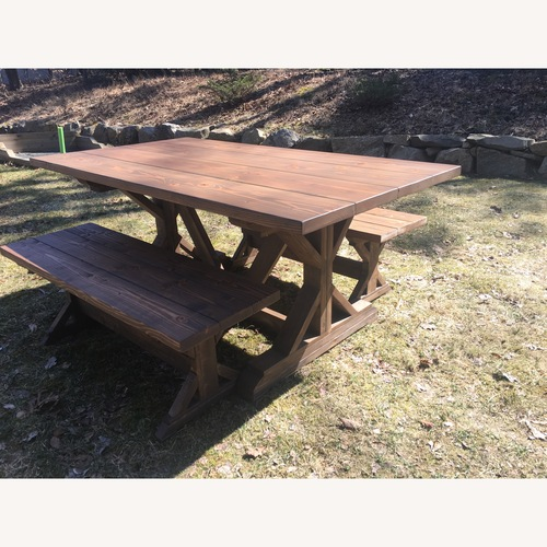 Used Farmhouse Dining Table and Benches for sale on AptDeco