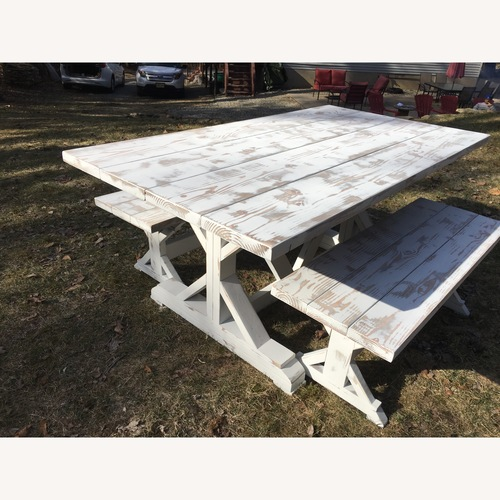 Used Farmhouse Trestle Table and Benches for sale on AptDeco