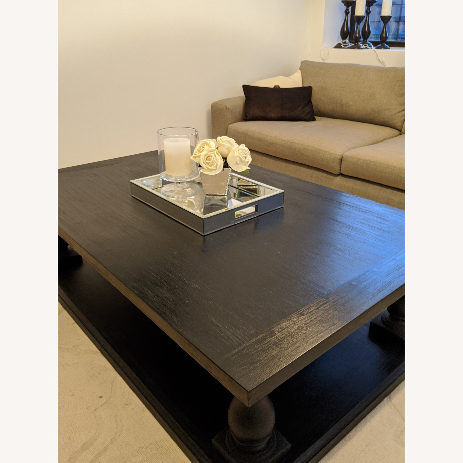 Restoration Hardware Dark Brown Coffee Table - image-3