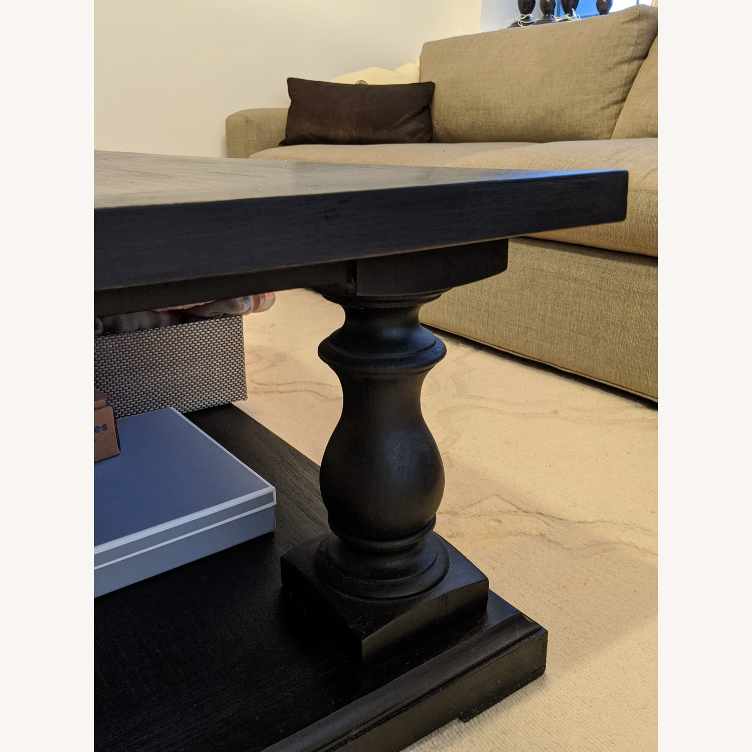 Restoration Hardware Dark Brown Coffee Table - image-6
