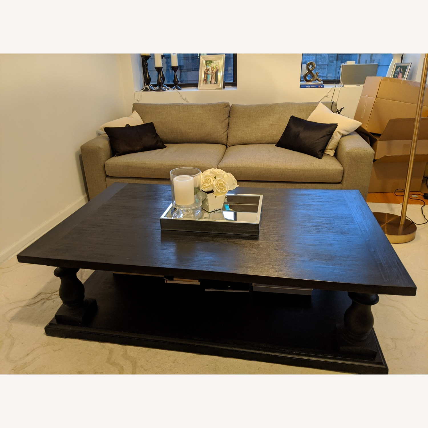 Restoration Hardware Dark Brown Coffee Table - image-5