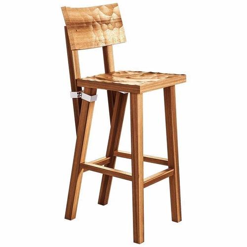 Used Torquemada Carved Brushed Oak Barstool for sale on AptDeco