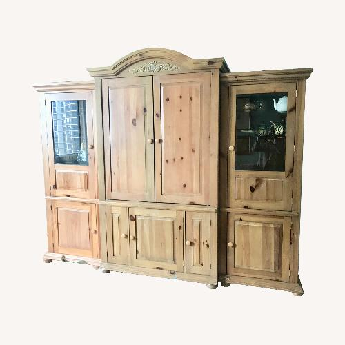 Used 3 piece Antique Pine Entertainment Wall Unit for sale on AptDeco
