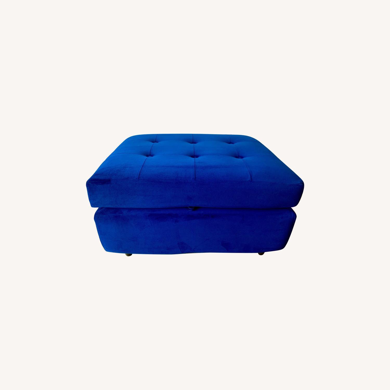 Joybird Cobalt Blue Velvet Eliot Storage Ottoman - image-0