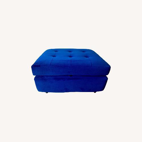 Used Joybird Cobalt Blue Velvet Eliot Storage Ottoman for sale on AptDeco