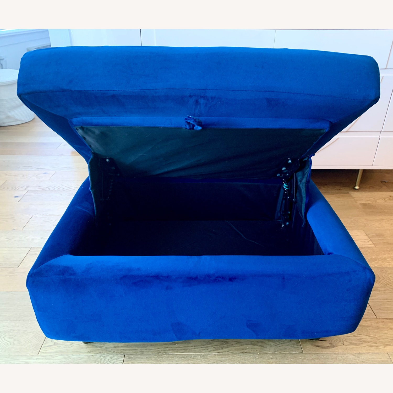 Joybird Cobalt Blue Velvet Eliot Storage Ottoman - image-2