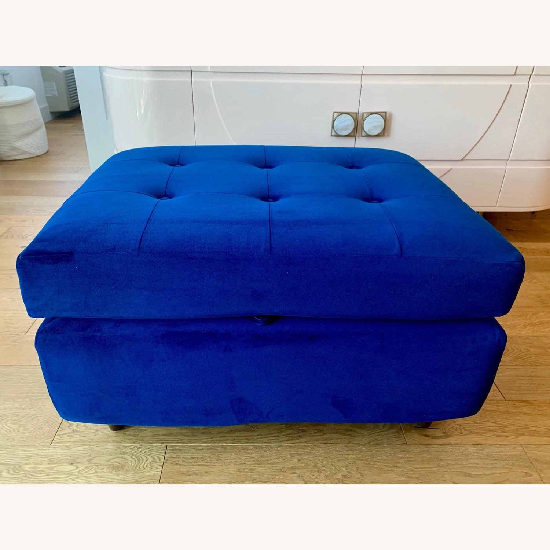Joybird Cobalt Blue Velvet Eliot Storage Ottoman - image-1