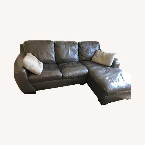 Used Brown Leather Chaise Sofa for sale on AptDeco