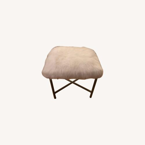 Used Target White Faux Fur Stool for sale on AptDeco