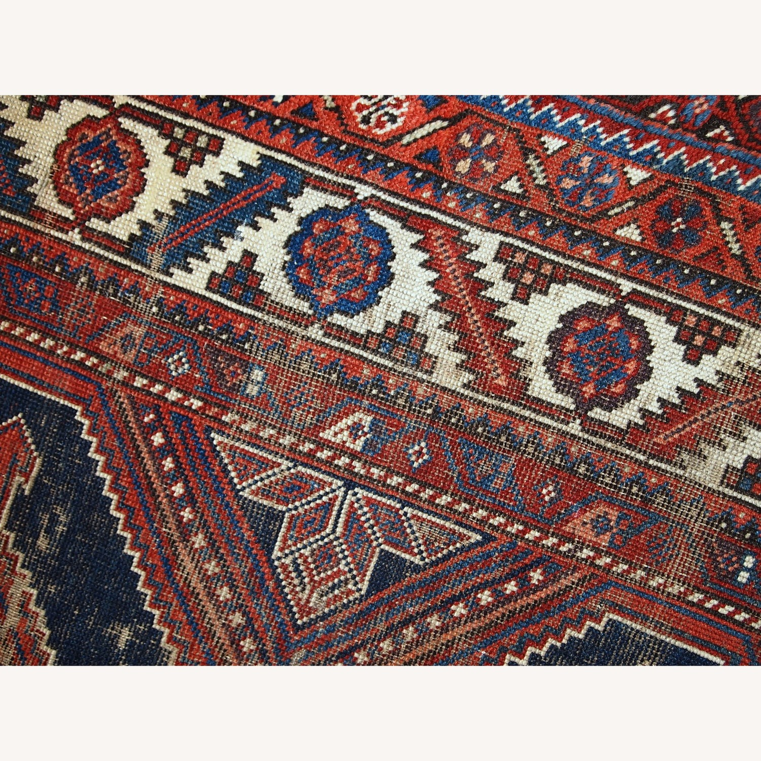 Handmade Antique Distressed Persian Shiraz Rug - image-2