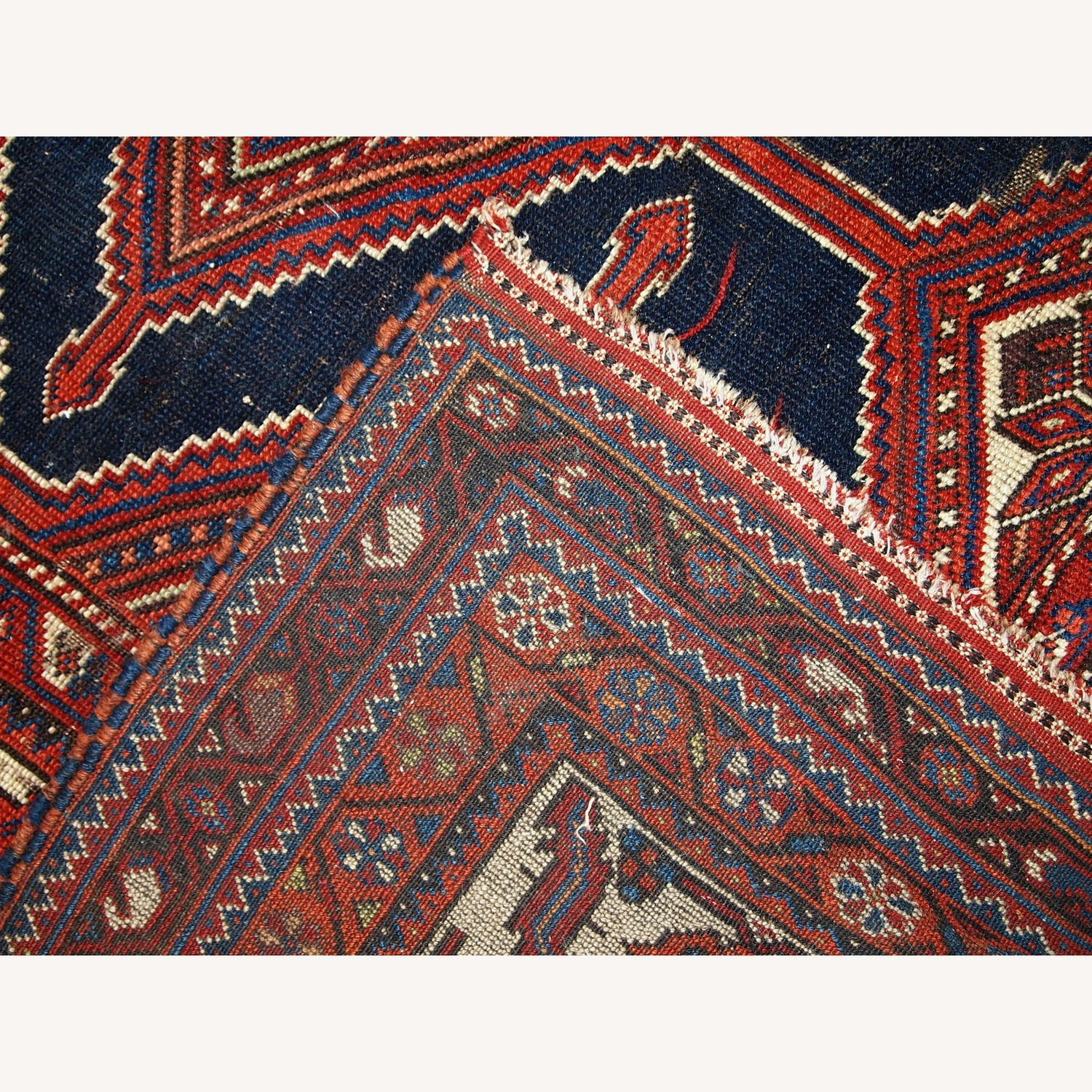 Handmade Antique Distressed Persian Shiraz Rug - image-7