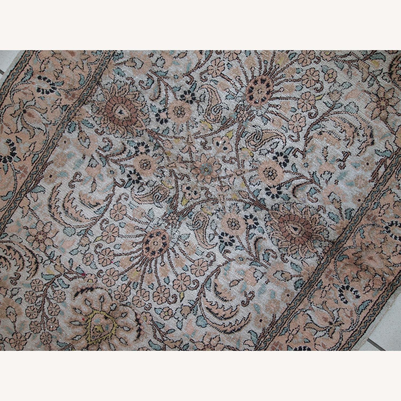 Handmade Vintage Silk Indo-Tabriz Rug - image-2