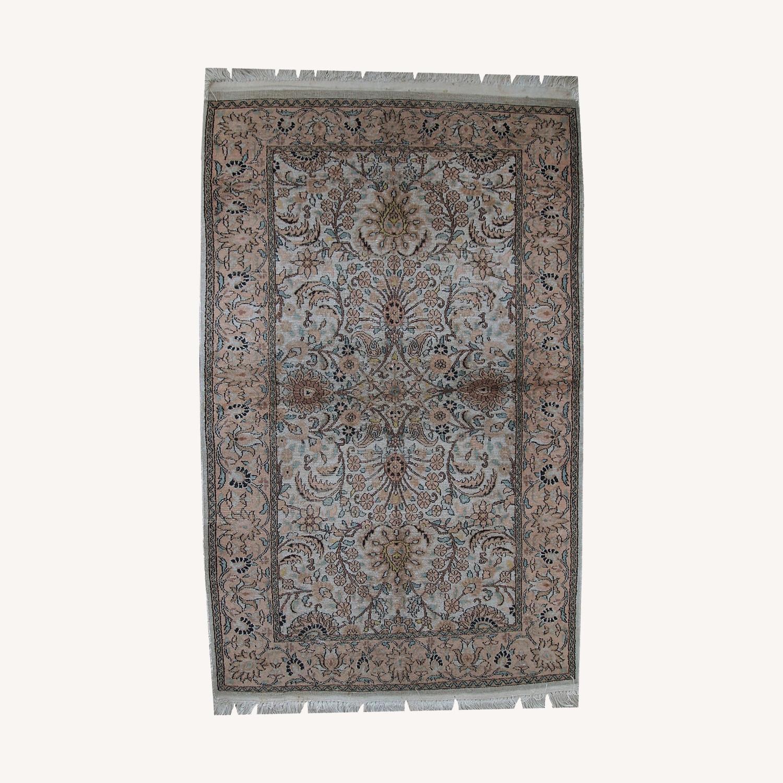 Handmade Vintage Silk Indo-Tabriz Rug - image-0