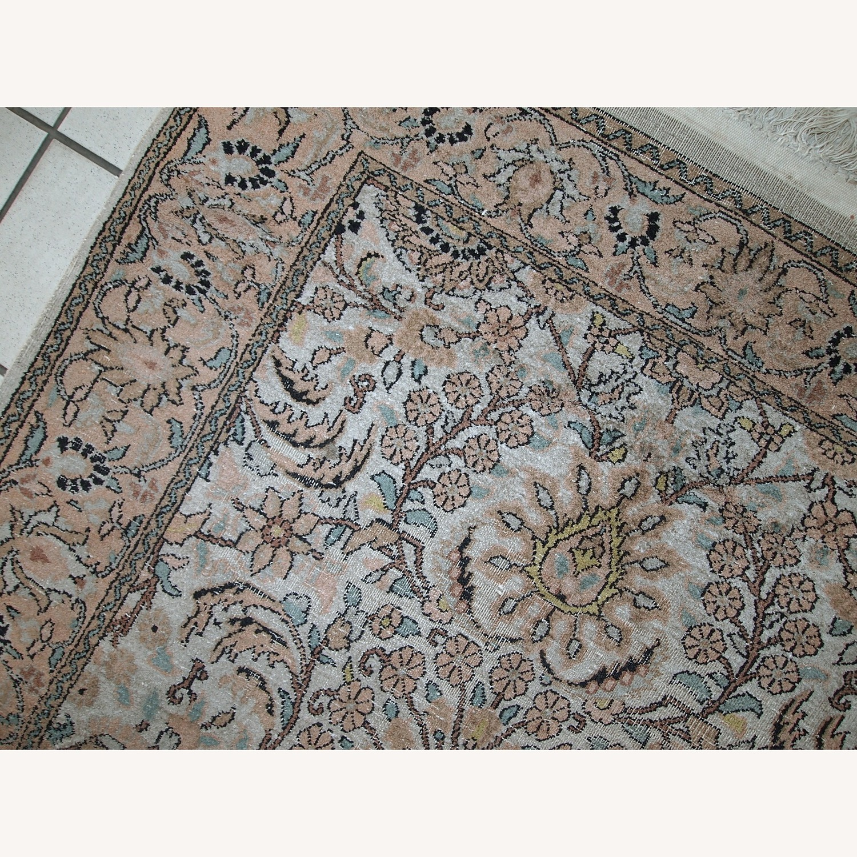 Handmade Vintage Silk Indo-Tabriz Rug - image-9