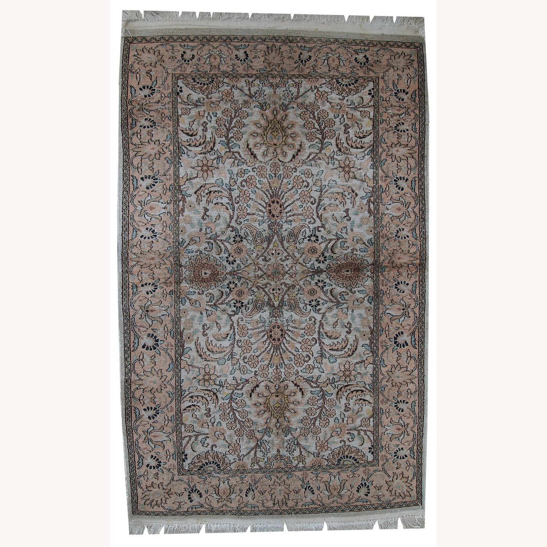 Handmade Vintage Silk Indo-Tabriz Rug - image-1