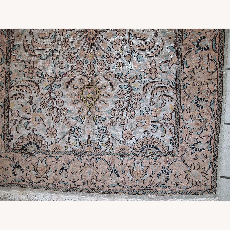 Handmade Vintage Silk Indo-Tabriz Rug - image-6