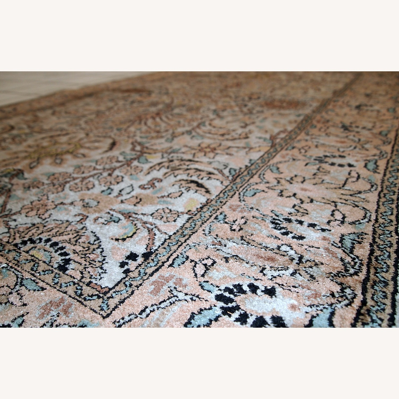 Handmade Vintage Silk Indo-Tabriz Rug - image-10