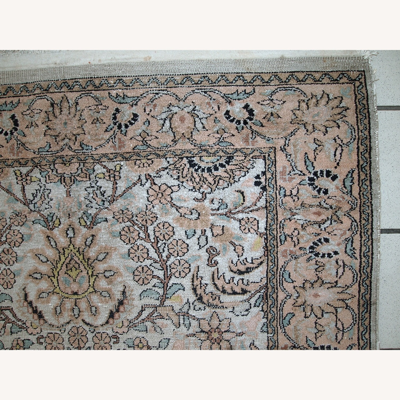 Handmade Vintage Silk Indo-Tabriz Rug - image-8