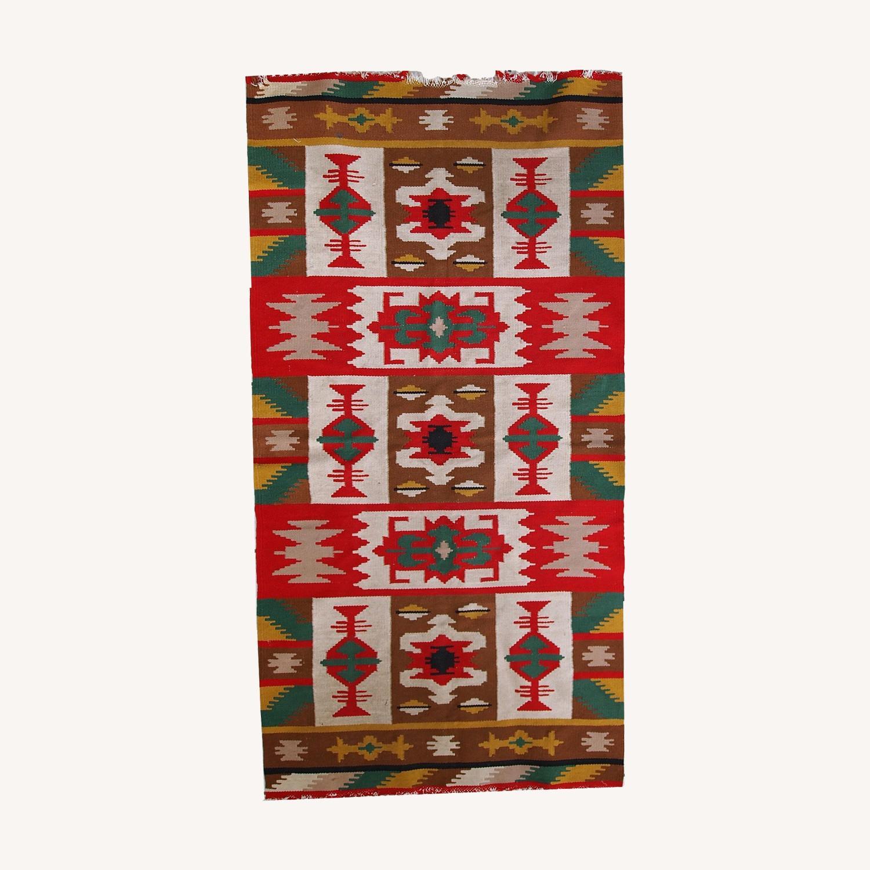 Handmade Vintage Turkish Anatolian Kilim - image-0