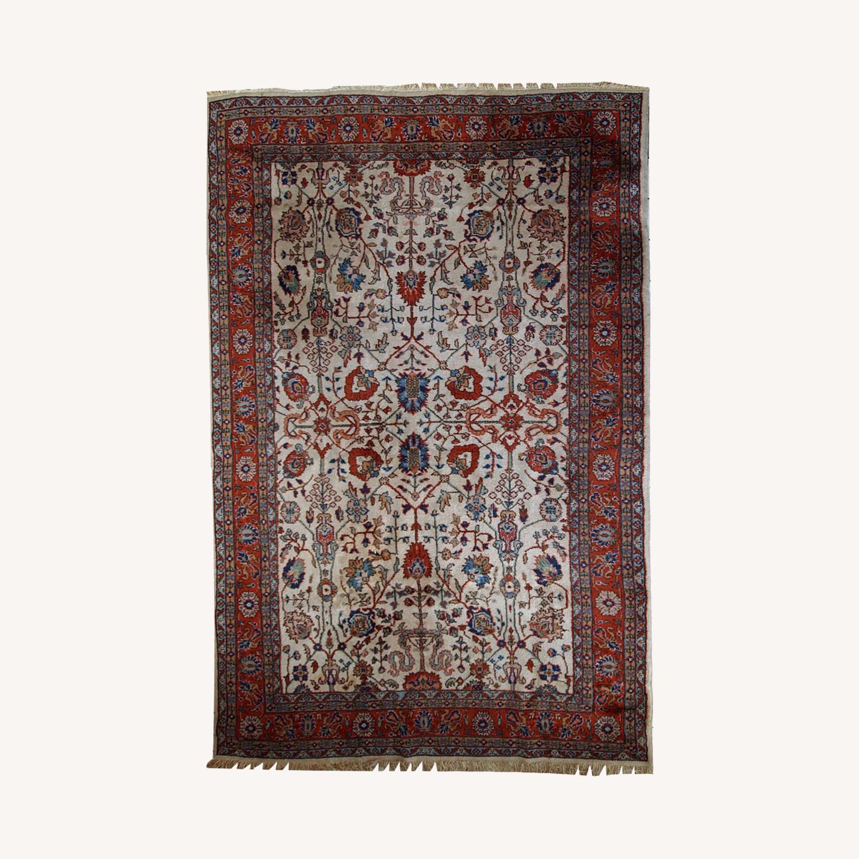 Handmade Vintage Persian Mashad Rug - image-0
