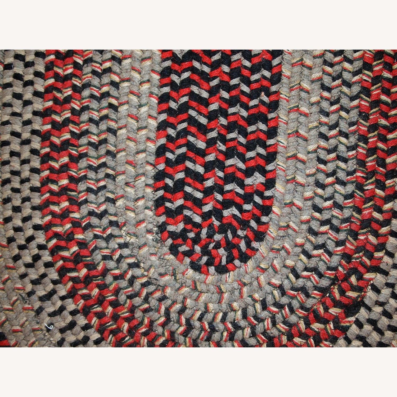 Handmade Antique American Braided Oval Rug - image-5