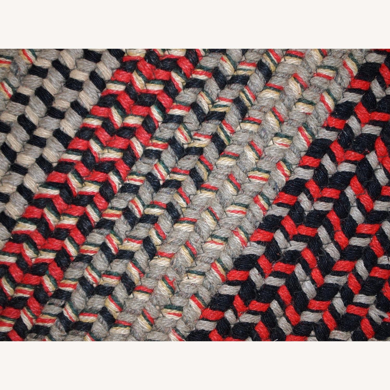 Handmade Antique American Braided Oval Rug - image-4