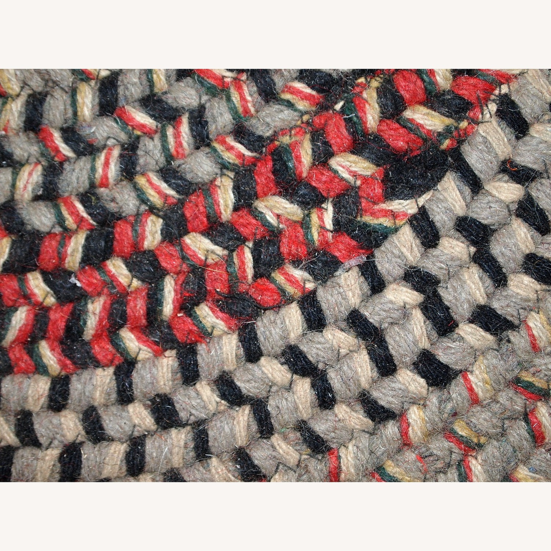 Handmade Antique American Braided Oval Rug - image-3