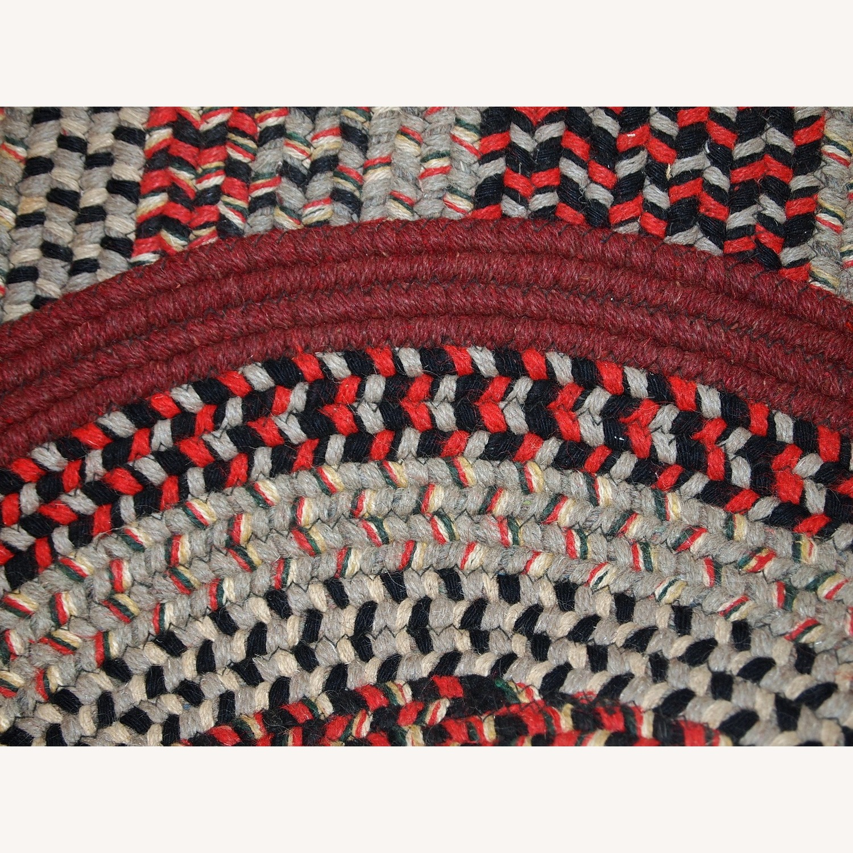 Handmade Antique American Braided Oval Rug - image-7