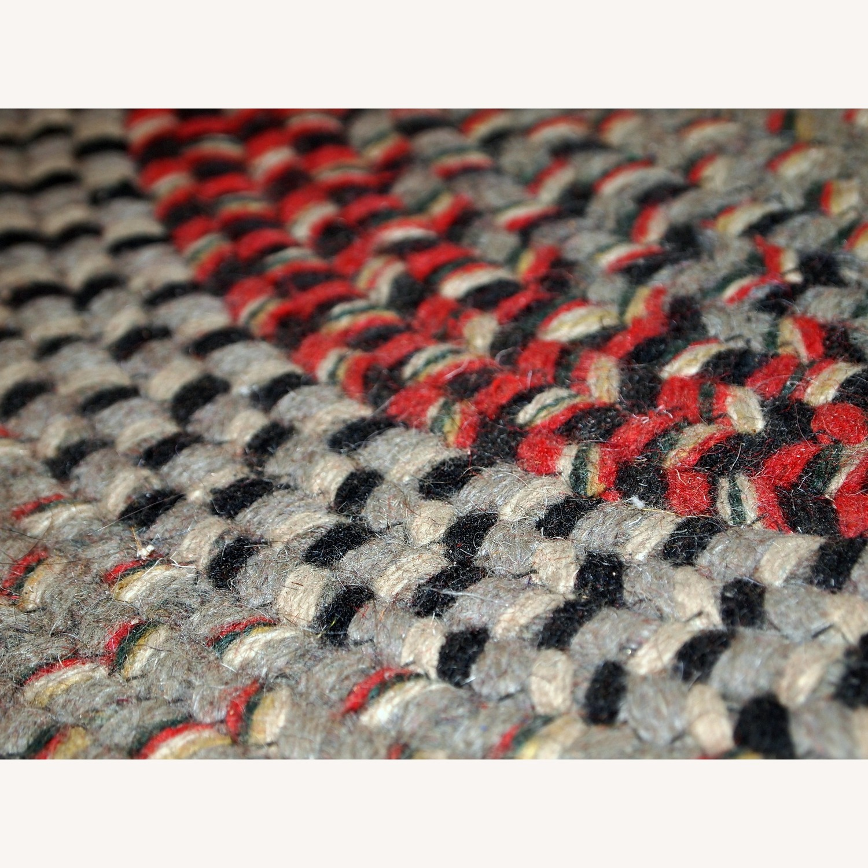 Handmade Antique American Braided Oval Rug - image-6