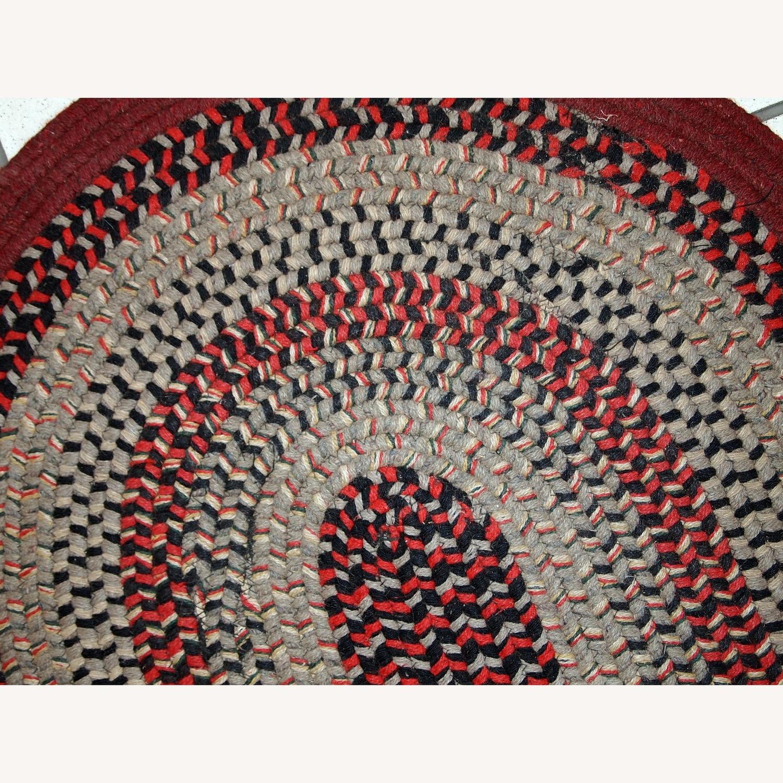 Handmade Antique American Braided Oval Rug - image-9