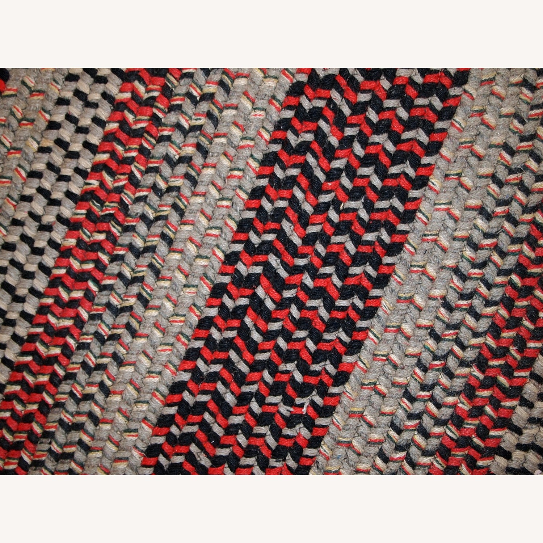 Handmade Antique American Braided Oval Rug - image-8