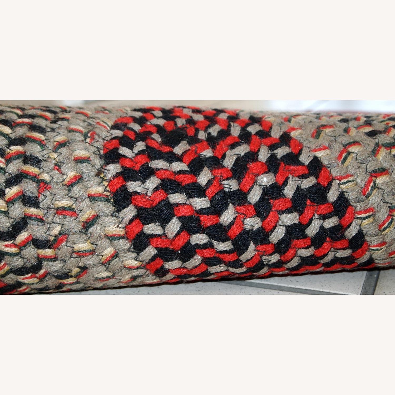 Handmade Antique American Braided Oval Rug - image-1