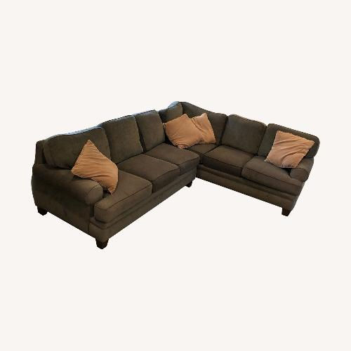 Used Hunter Green Smith Brothers Sectional for sale on AptDeco