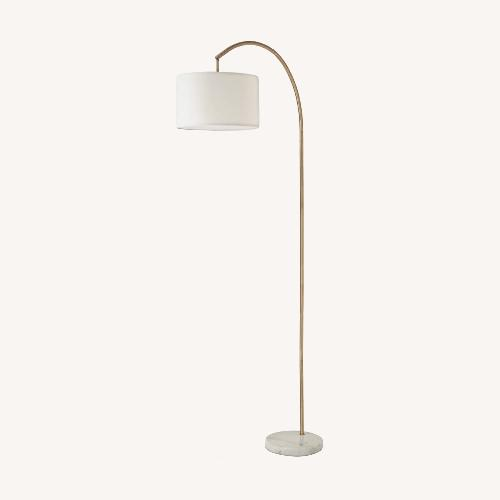 Used West Elm Shaded Arc with Marble Base Floor Lamp Brass for sale on AptDeco