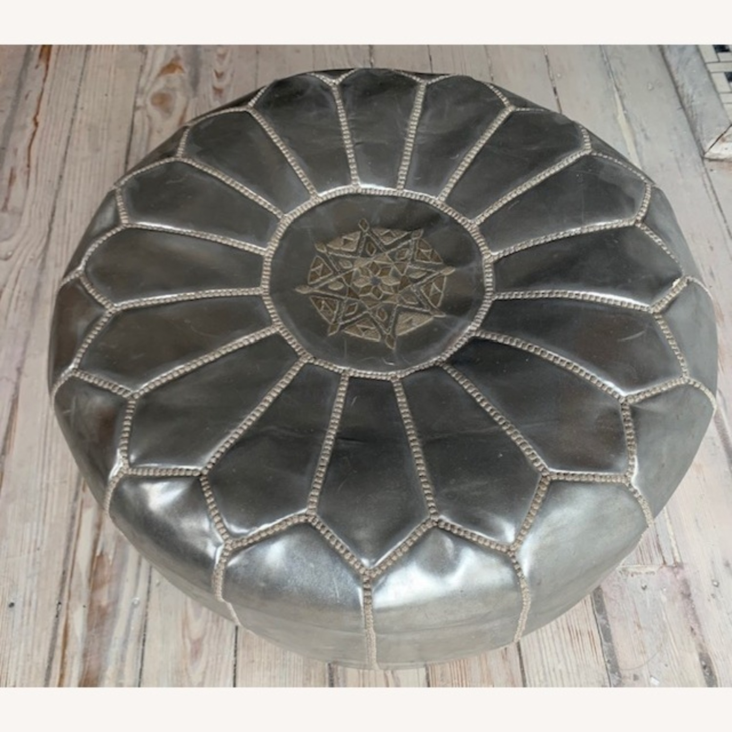 Silver Moroccan Leather Pouf - image-2