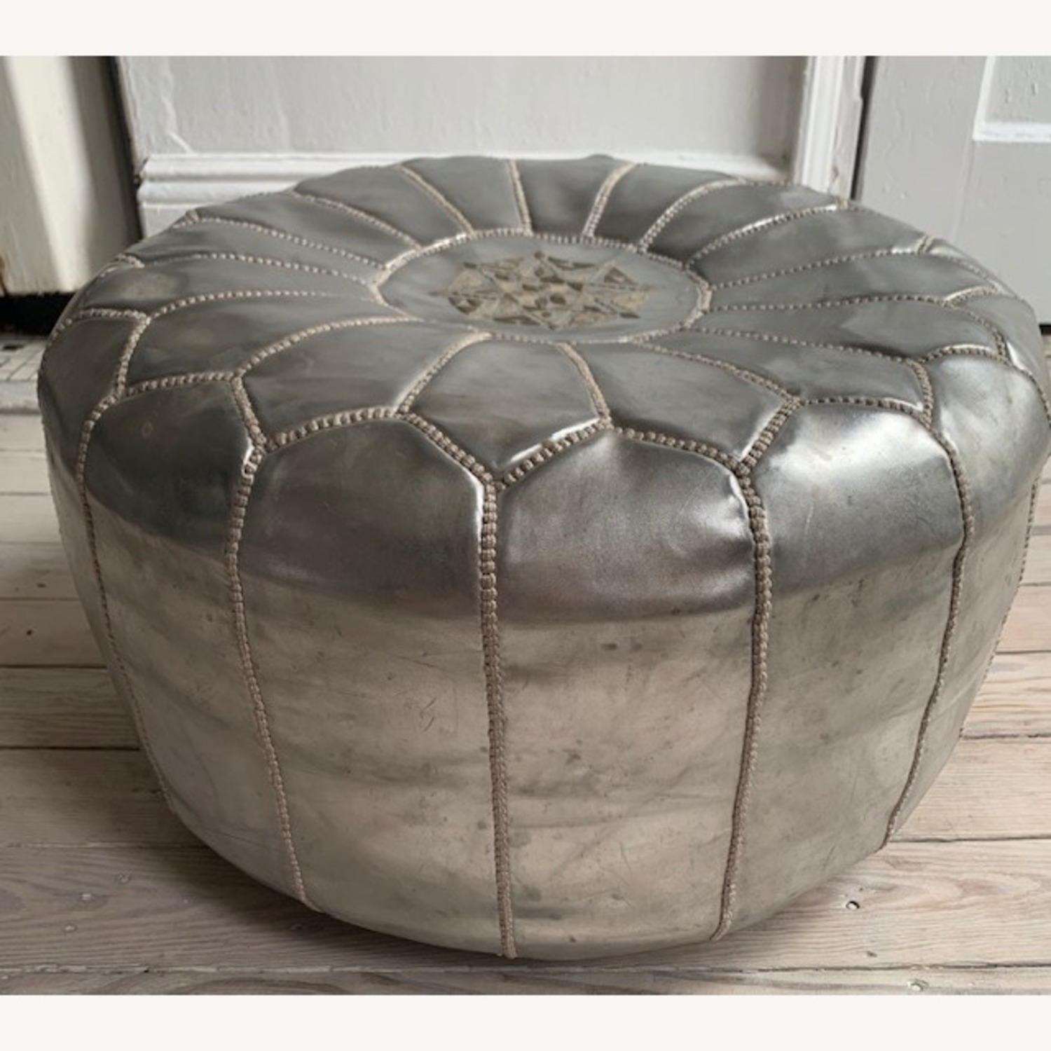 Silver Moroccan Leather Pouf - image-1