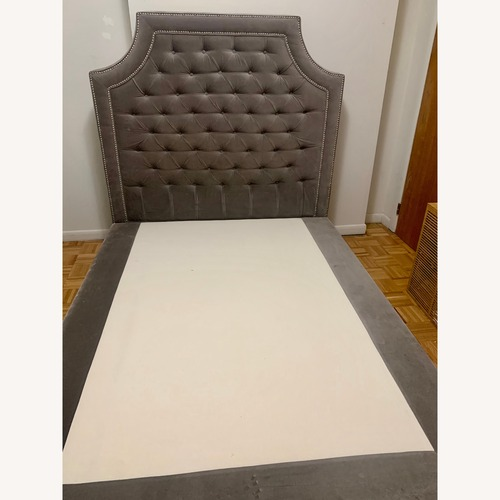 Used Upholstered Grey Queen Bed Frame for sale on AptDeco