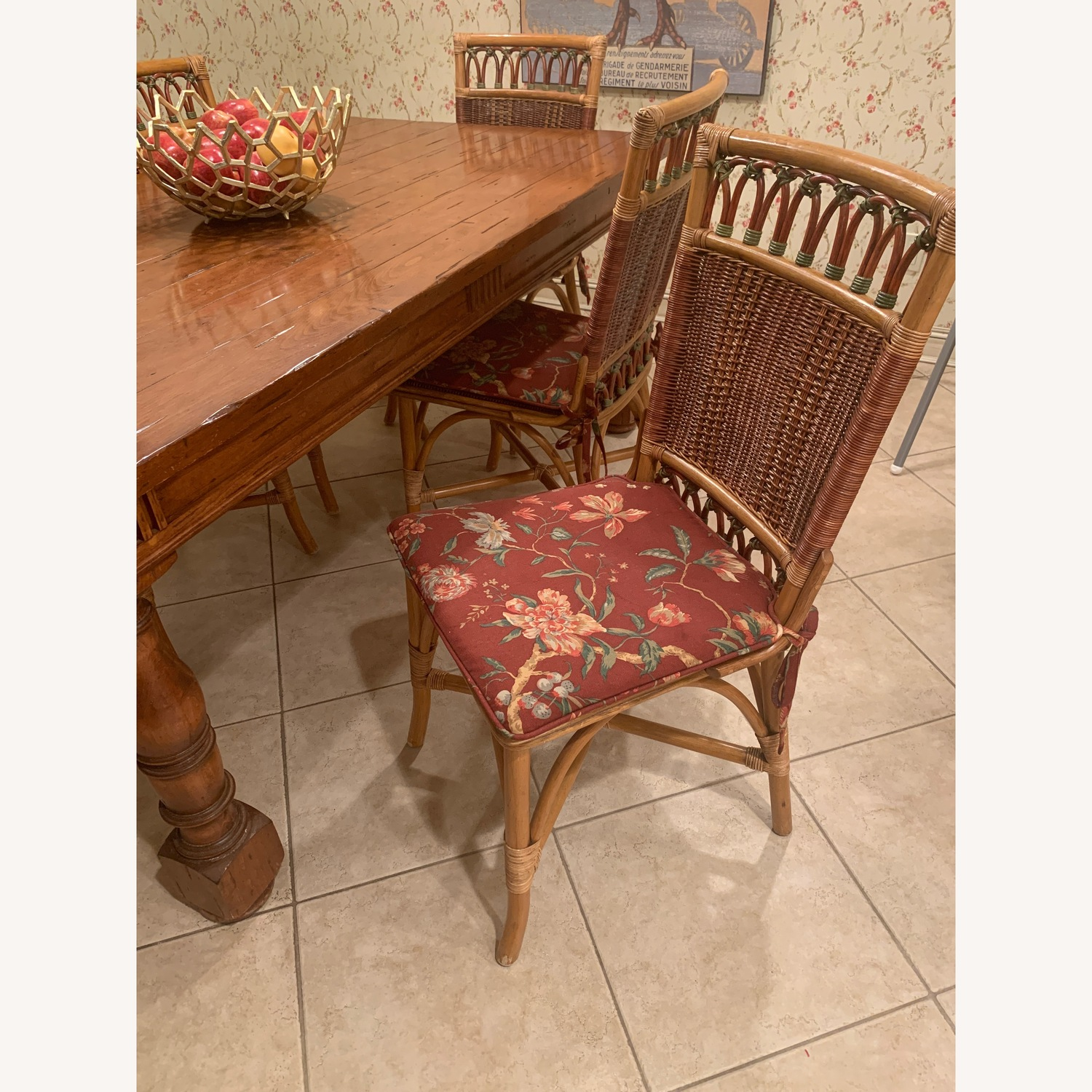 Rattan dining chairs with optional cushions  - image-1