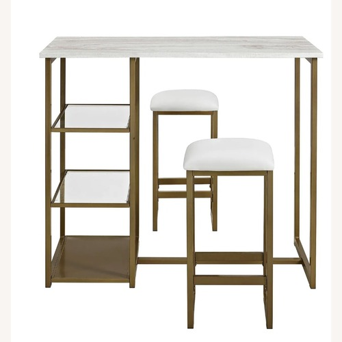 Used Pier 1 Imports 3 Piece Brass Casual Dining Set for sale on AptDeco
