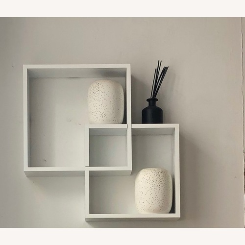 Used Intersecting Cube Shelves - White for sale on AptDeco
