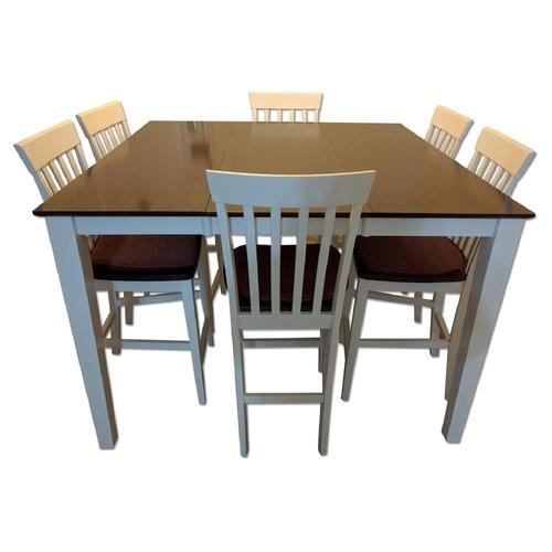 Used Bob's Dark Cherry Wood & White 7 Piece Dining Set for sale on AptDeco