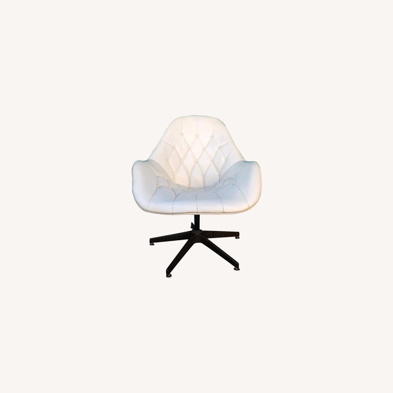 Mid Century Tufted White Vinyl Chair - image-0