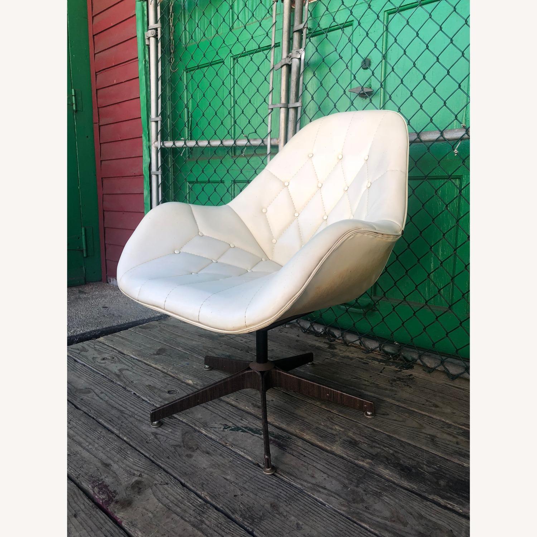 Mid Century Tufted White Vinyl Chair - image-2