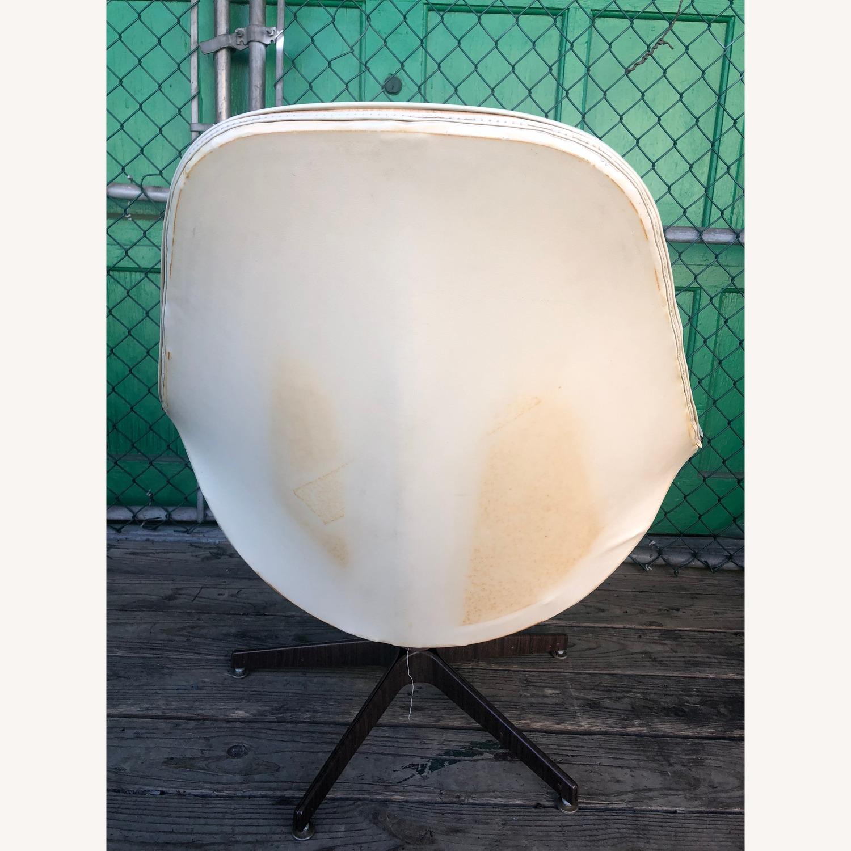 Mid Century Tufted White Vinyl Chair - image-4