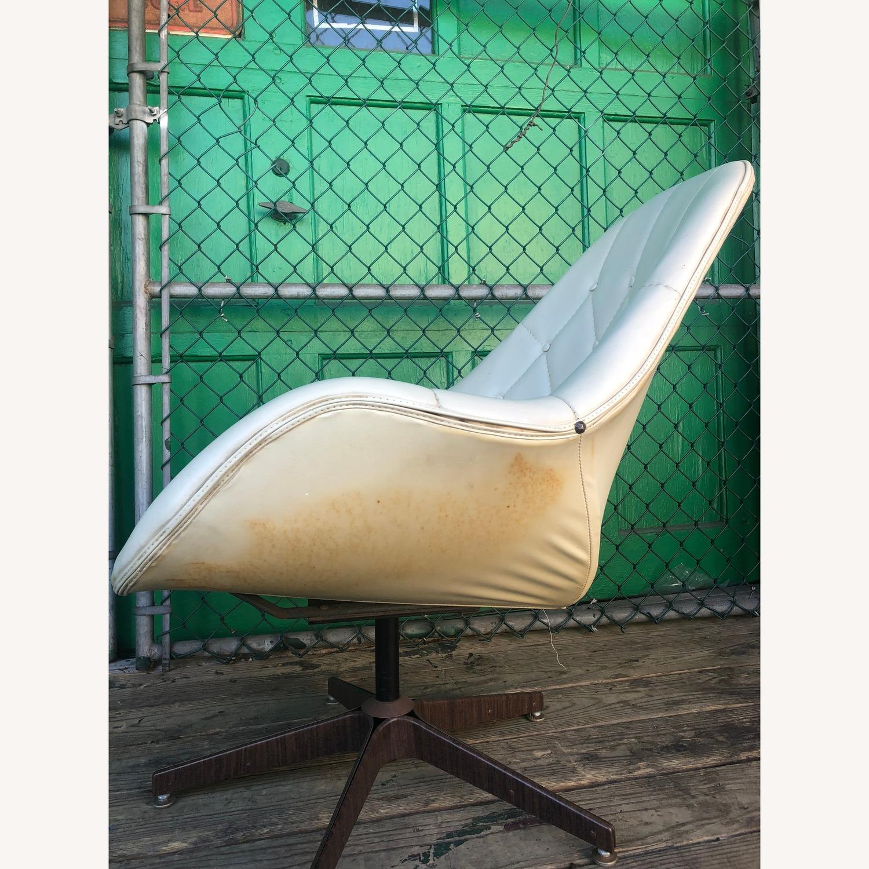 Mid Century Tufted White Vinyl Chair - image-8