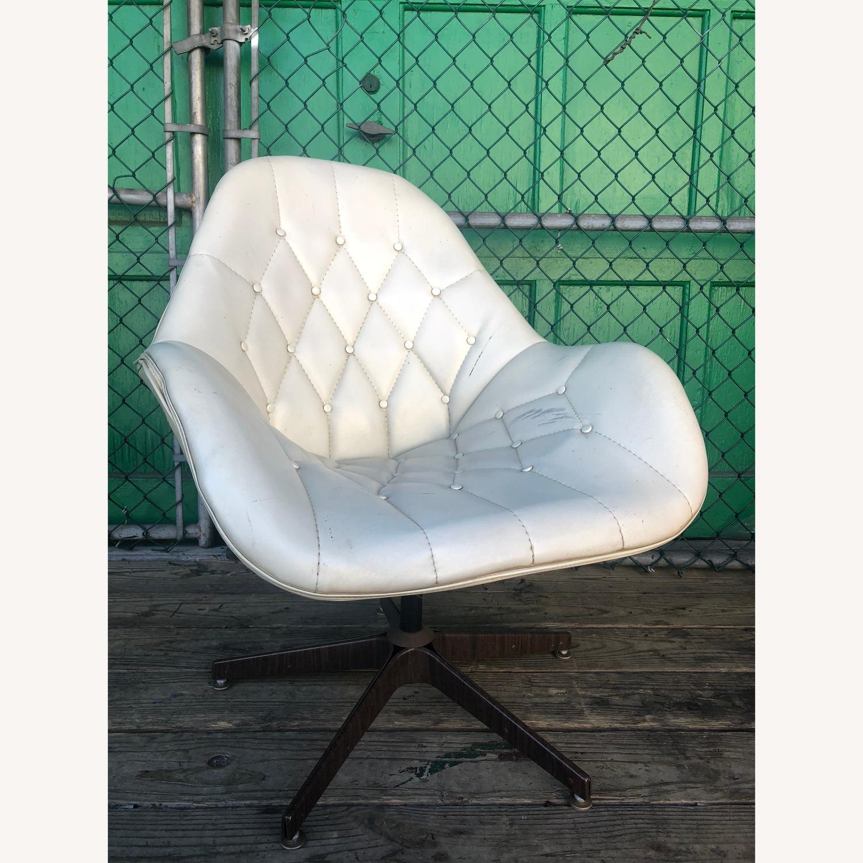 Mid Century Tufted White Vinyl Chair - image-5