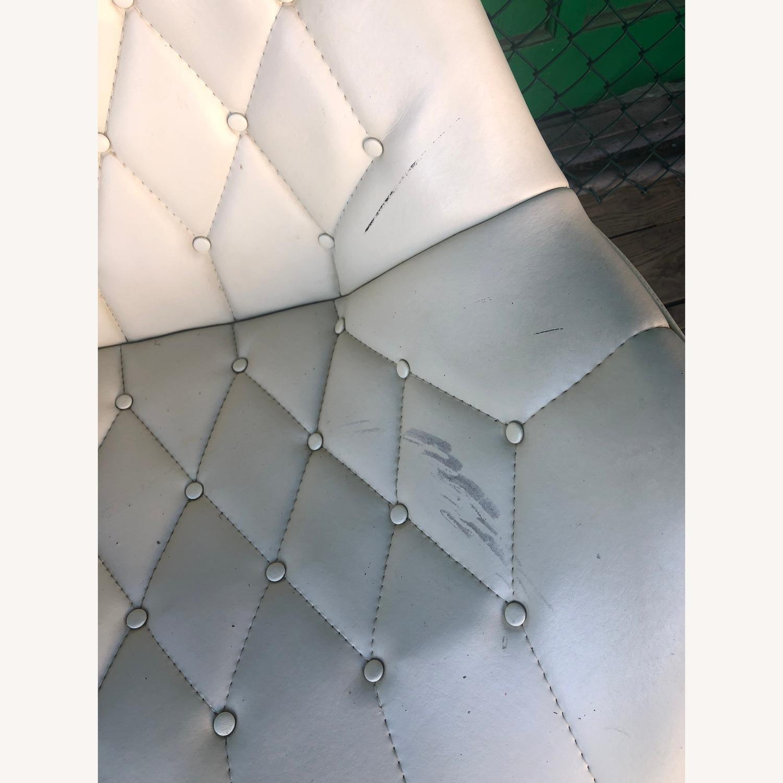 Mid Century Tufted White Vinyl Chair - image-1