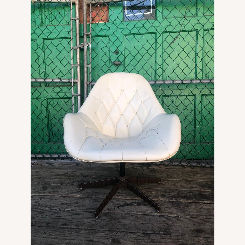 Mid Century Tufted White Vinyl Chair - image-3