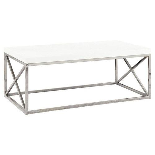 Used White Wood Coffee Table Chrome Legs for sale on AptDeco
