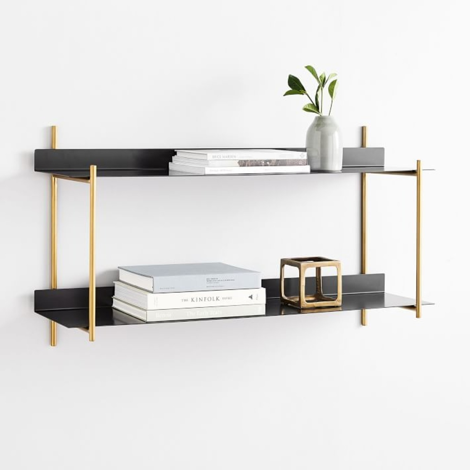 West Elm Floating Lines 2- Tiered Wall Shelf - image-1